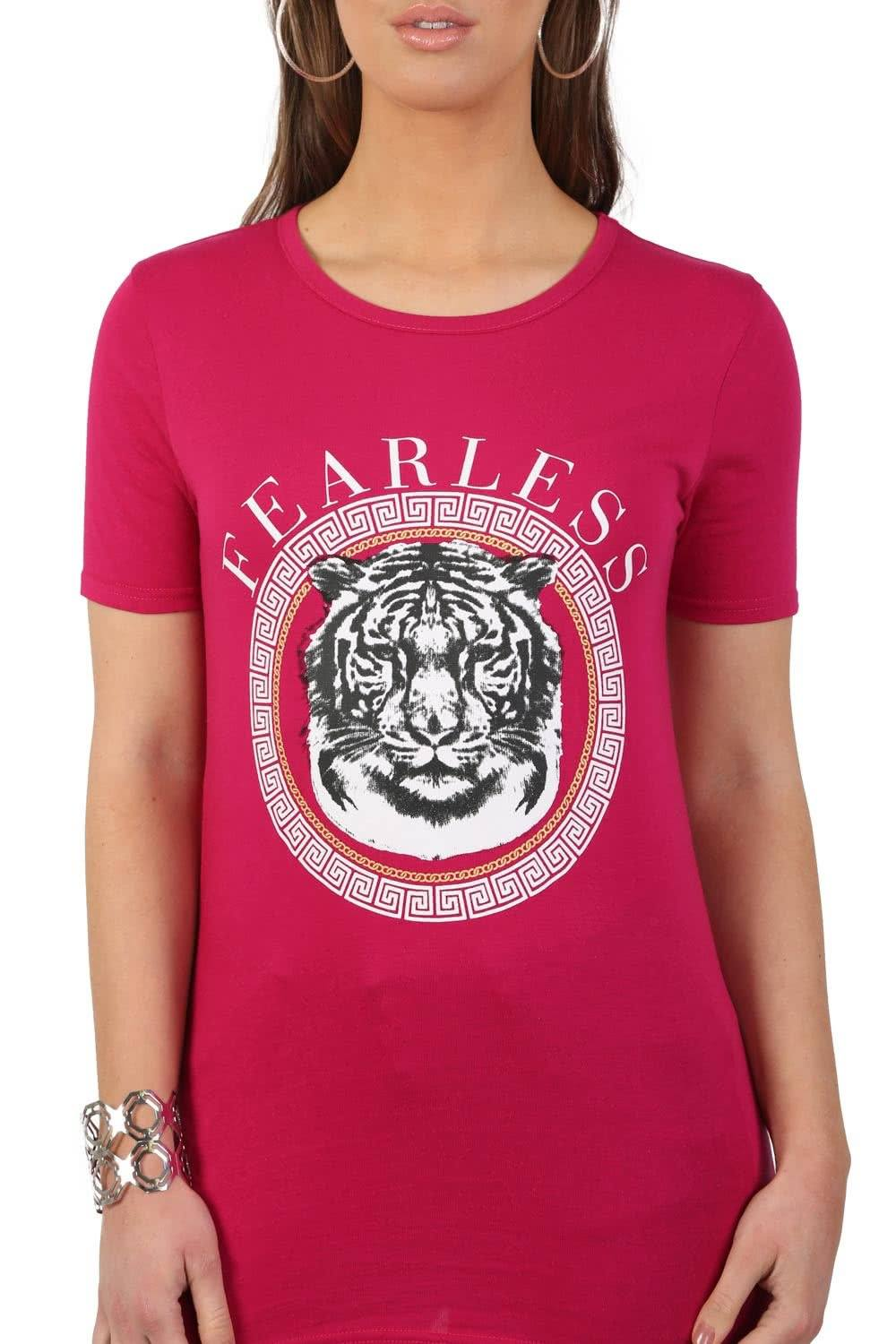 Fearless Slogan Print Tiger Motif Short Sleeve T-Shirt in Magenta Pink 5