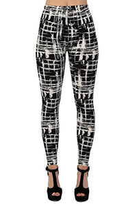 Abstract Check Print Leggings in Black
