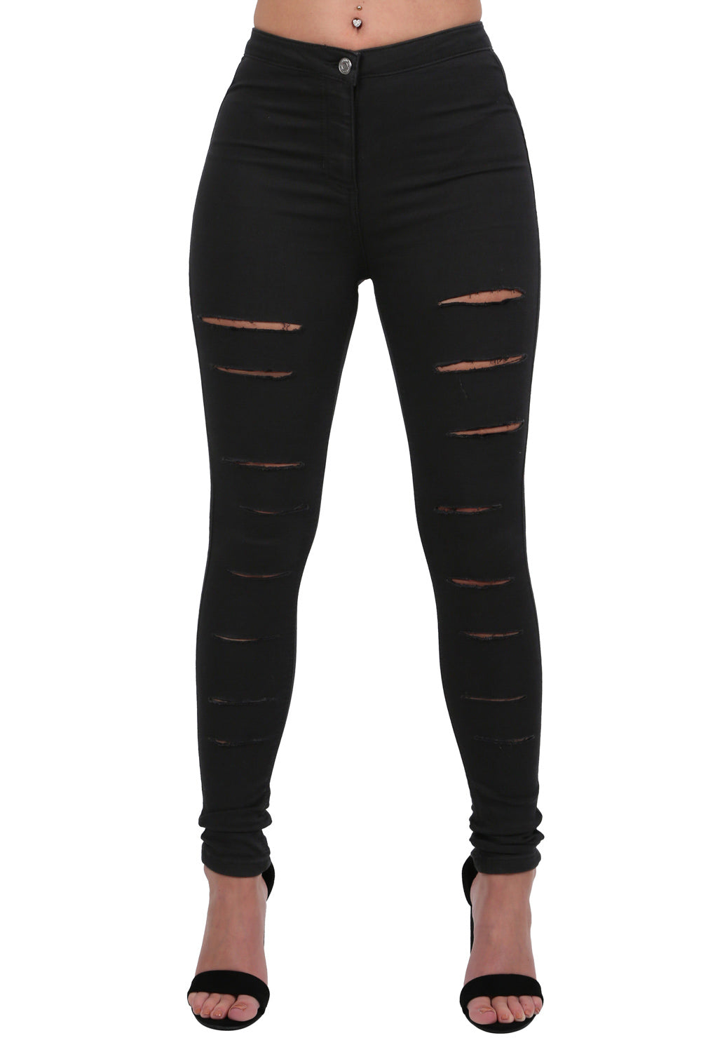 Plain Multi Rip Front High Waist Skinny Jeans in Black