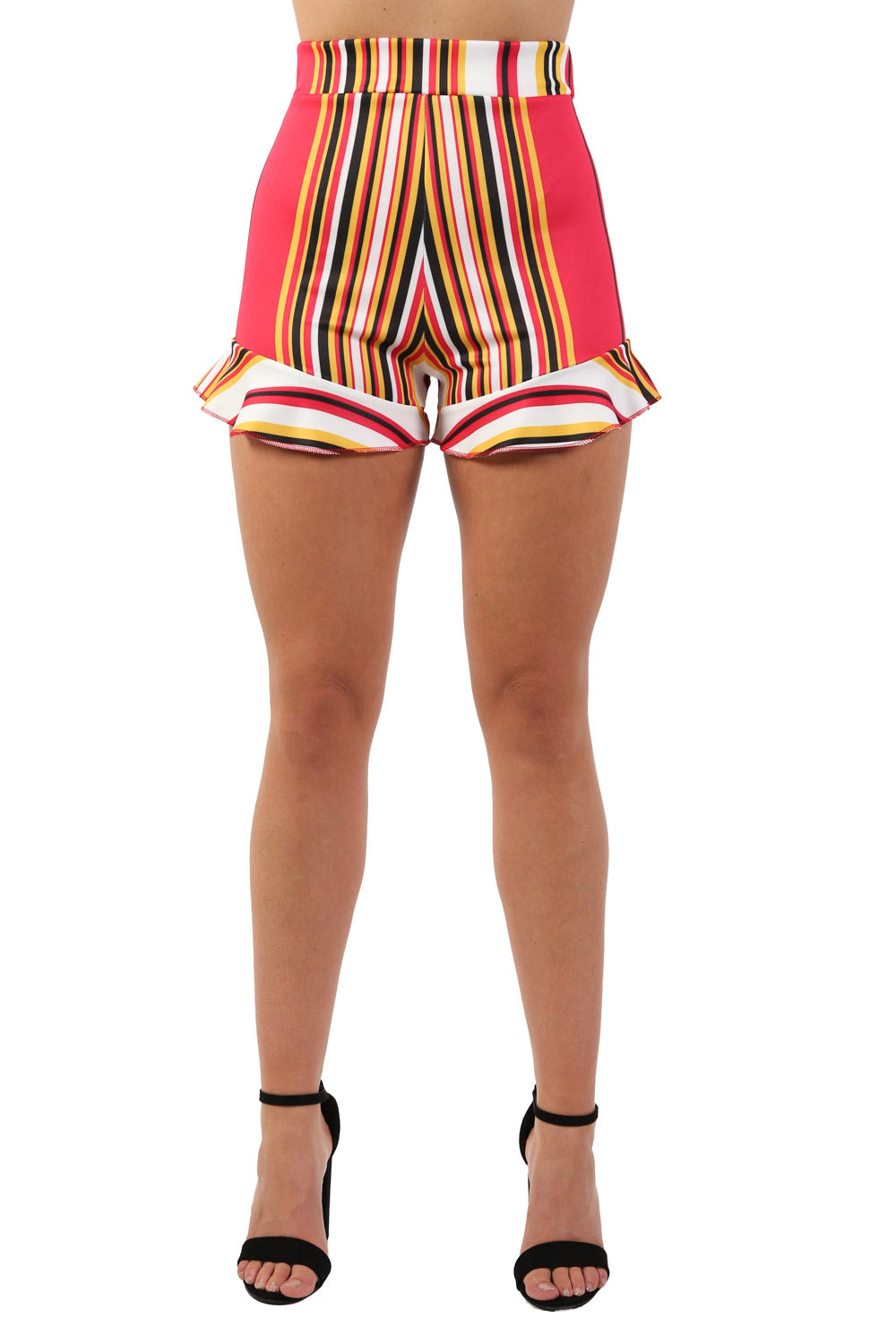 High Waist Multi Stripe Frill Hem Fitted Shorts in Red