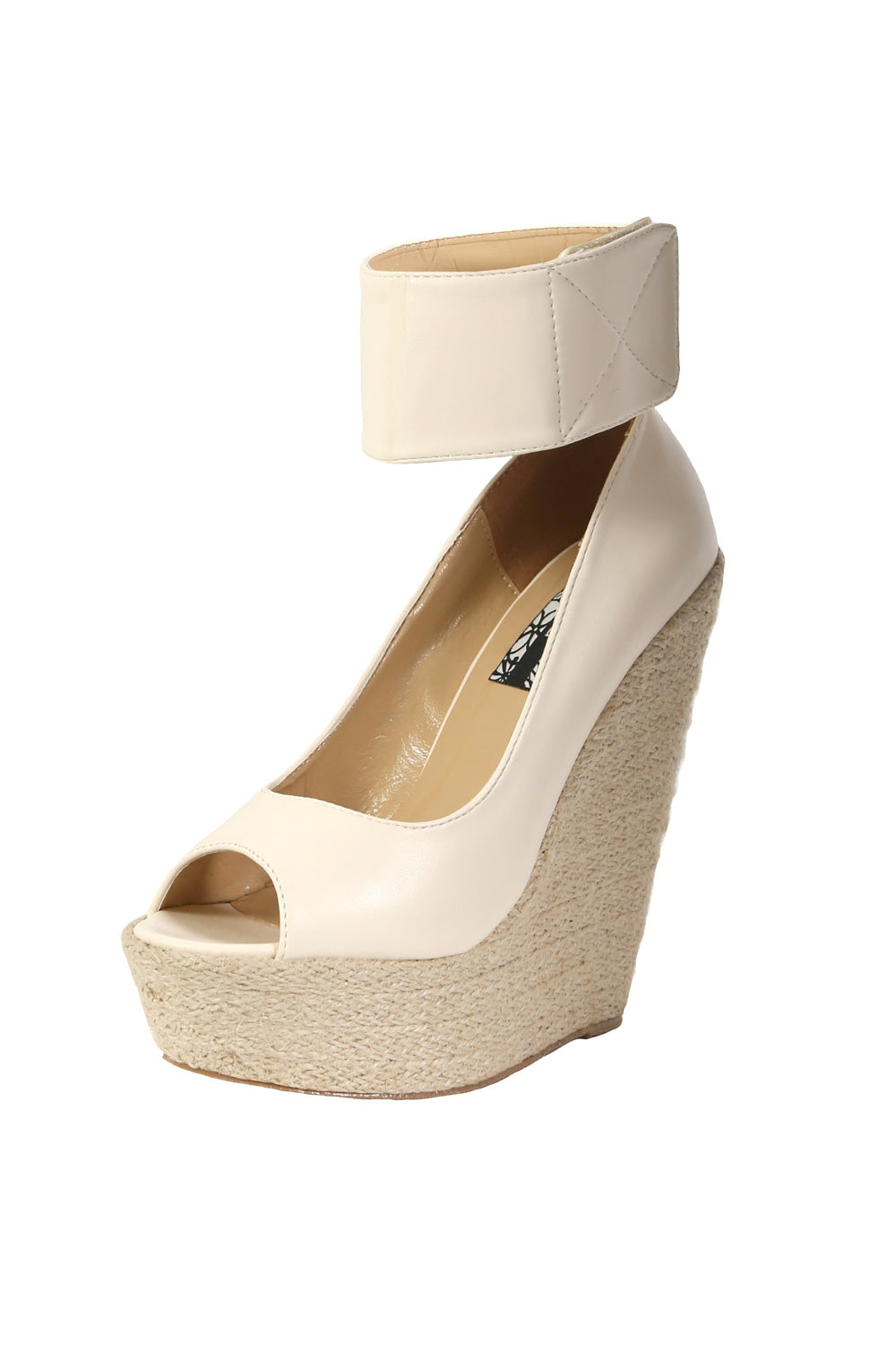 Open Toe Wide Ankle Strap Wedge Sandals in Cream