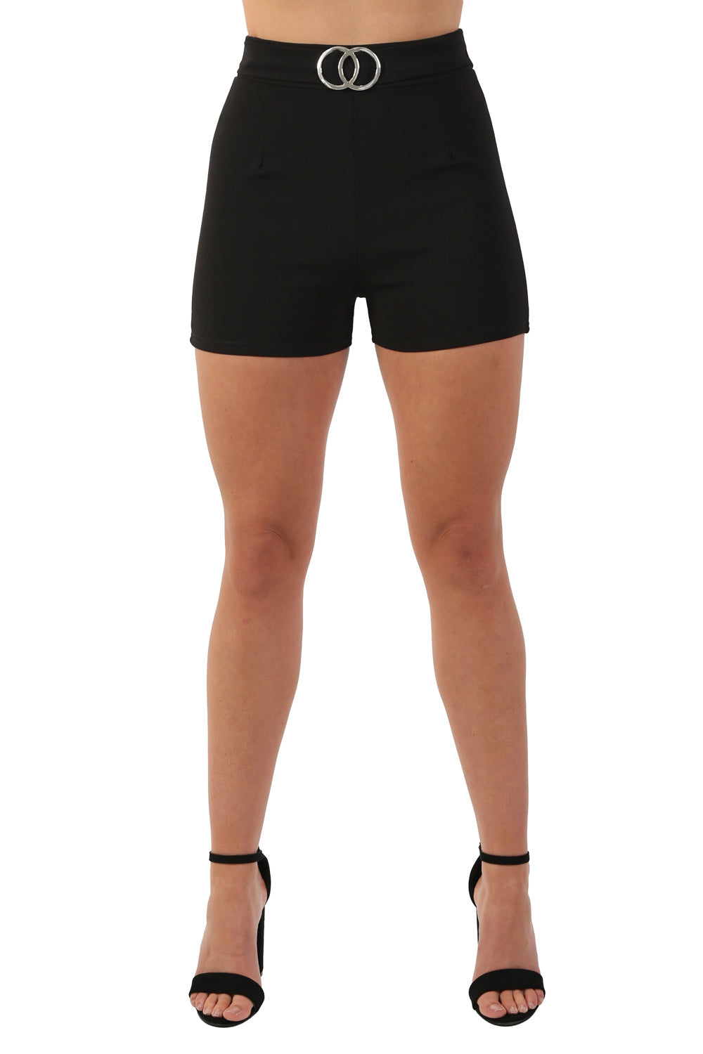 Double Circle Buckle Detail High Waisted Fitted Shorts in Black