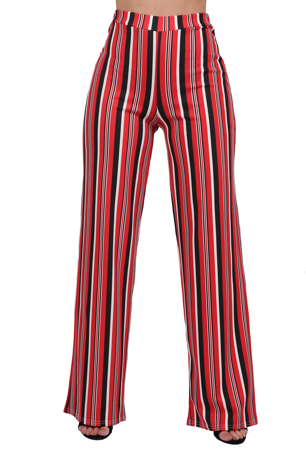 Multi Stripe High Waist Wide Leg Trousers in Red