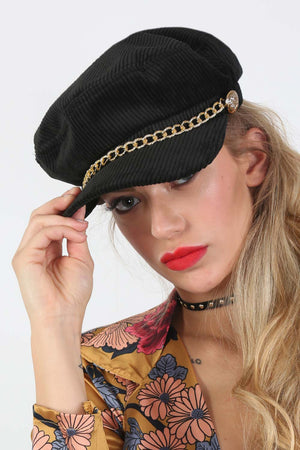 Plain Corduroy Baker Boy Hat With Chain Detail in Black 1