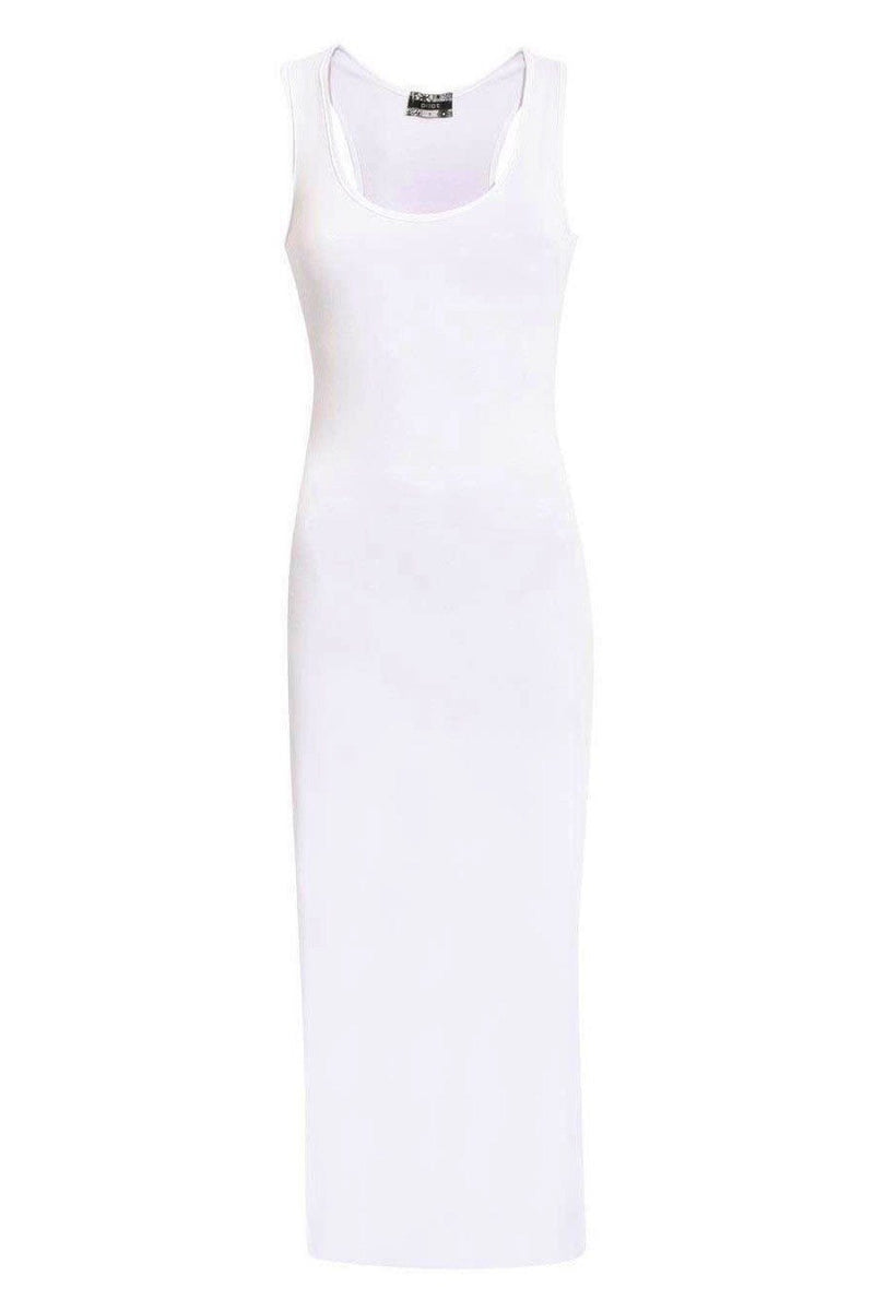 Scoop Neck Sleeveless Maxi Dress in White FRONT