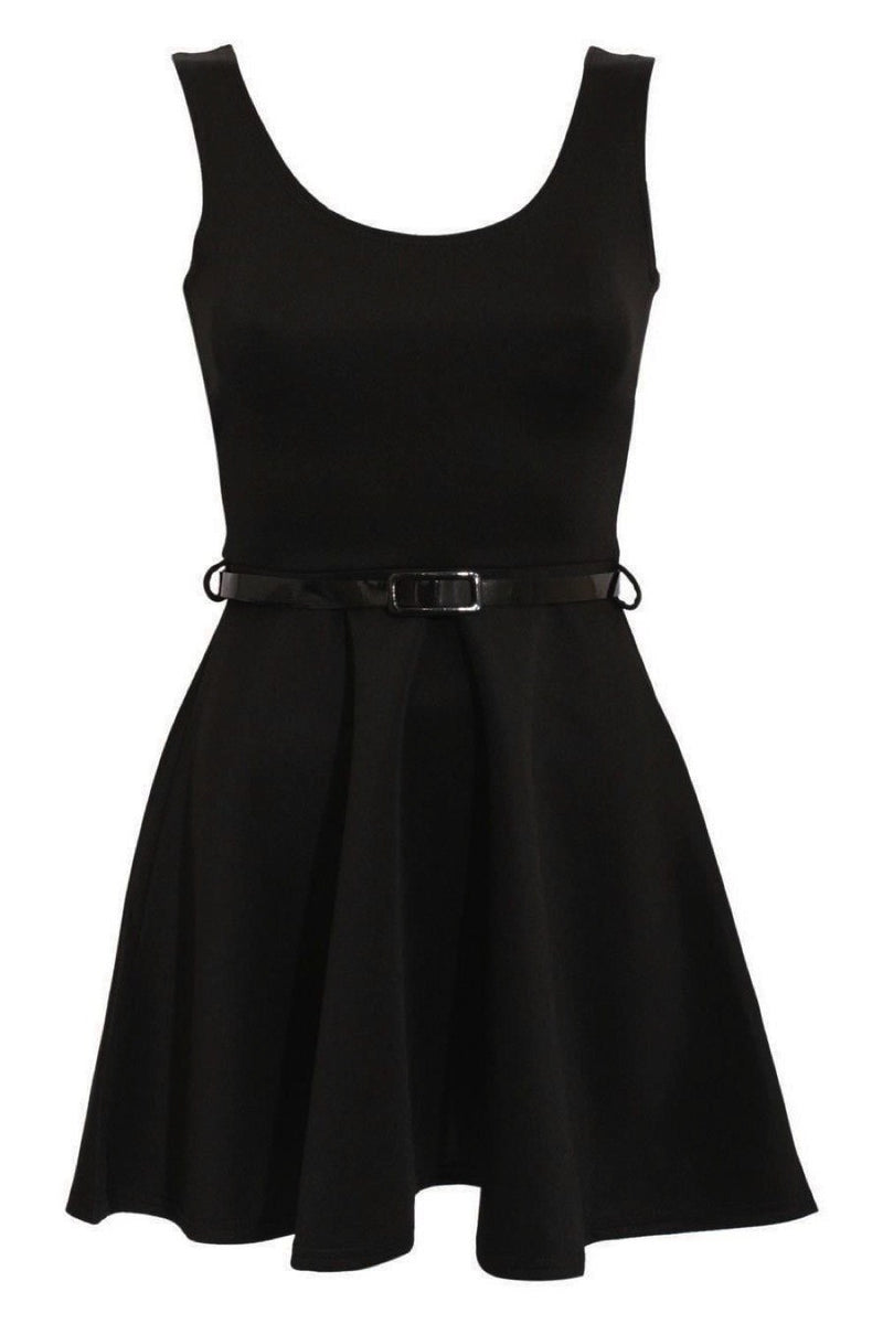 Sleeveless Belted Skater Dress in Black FRONT