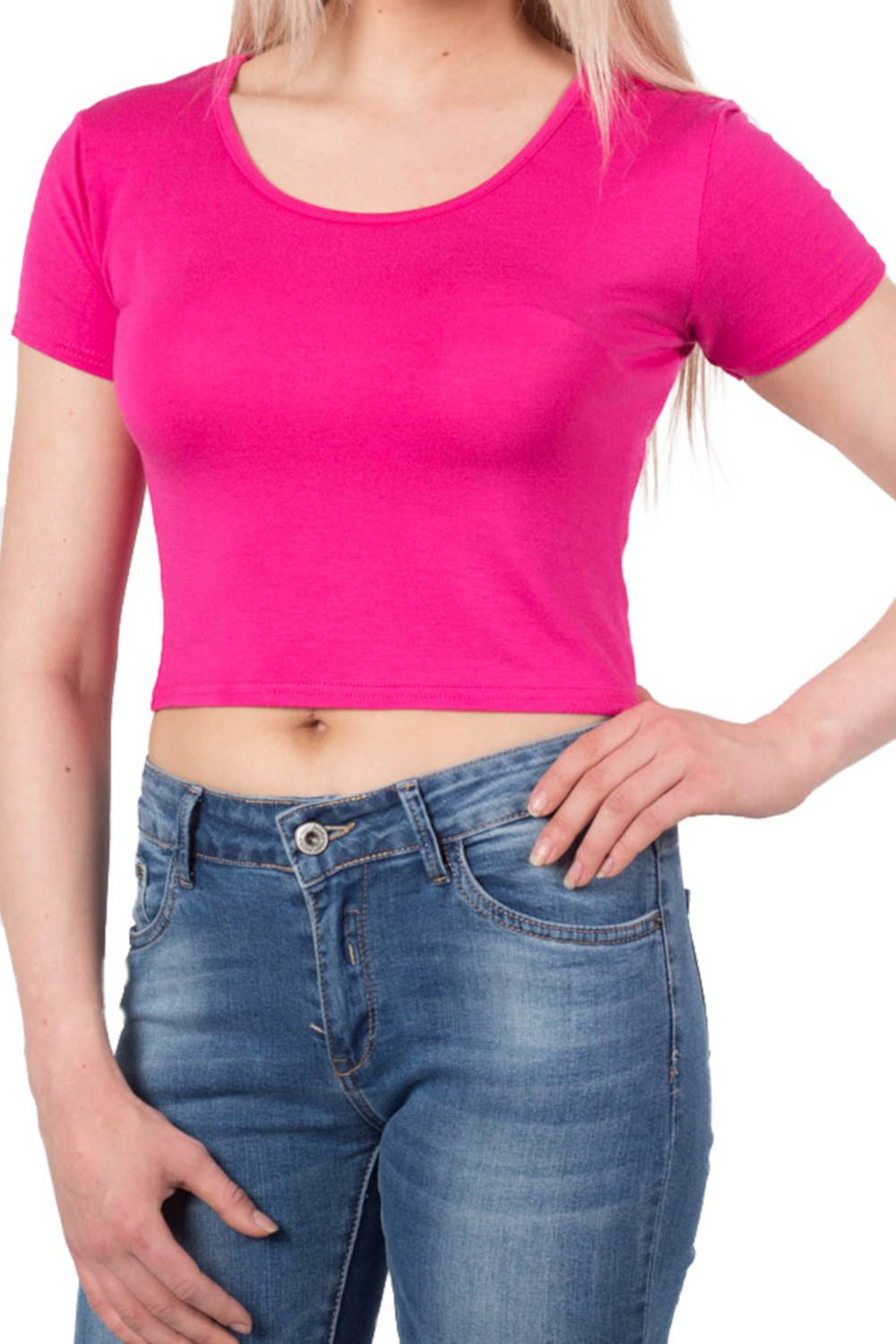 Plain Cap Sleeve Crop Top in Cerise Pink