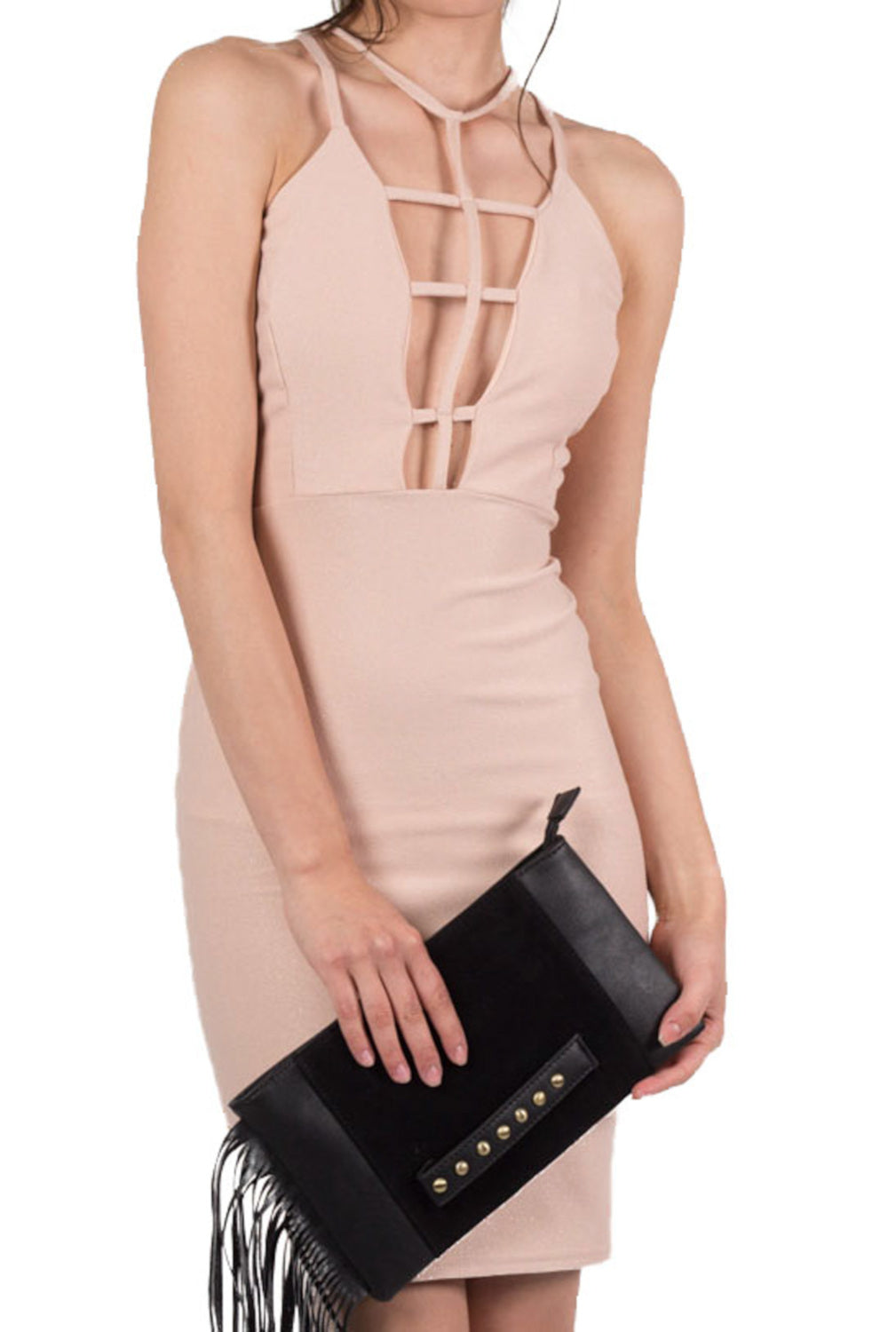 Caged Front Bodycon Dress in Nude