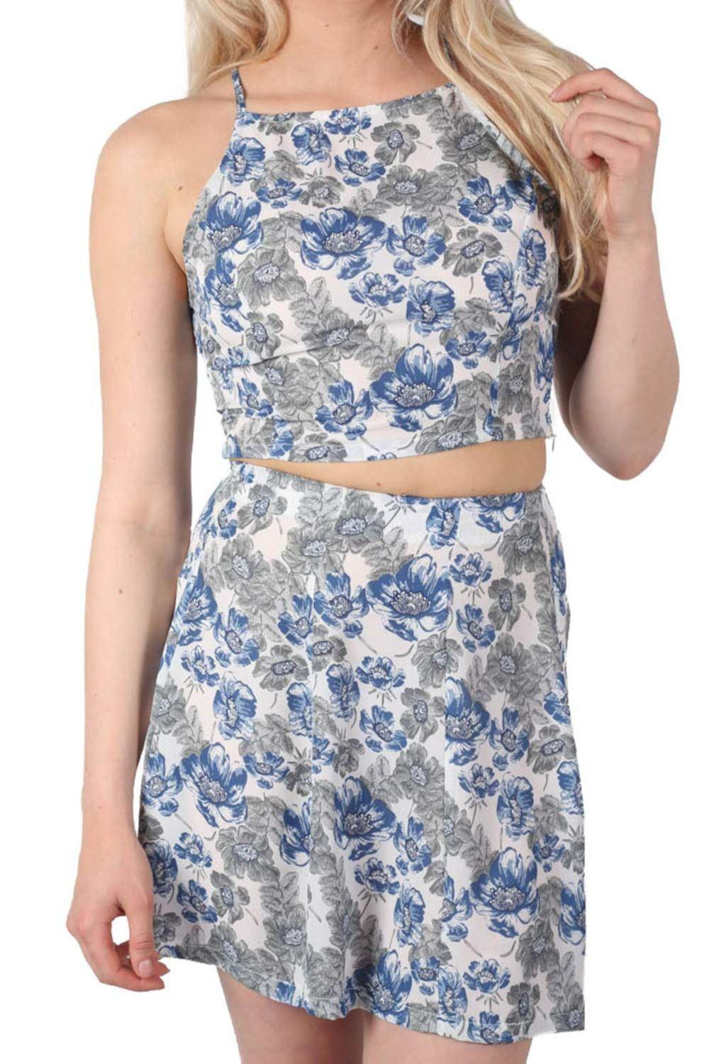 Floral Print Crop Top in Blue