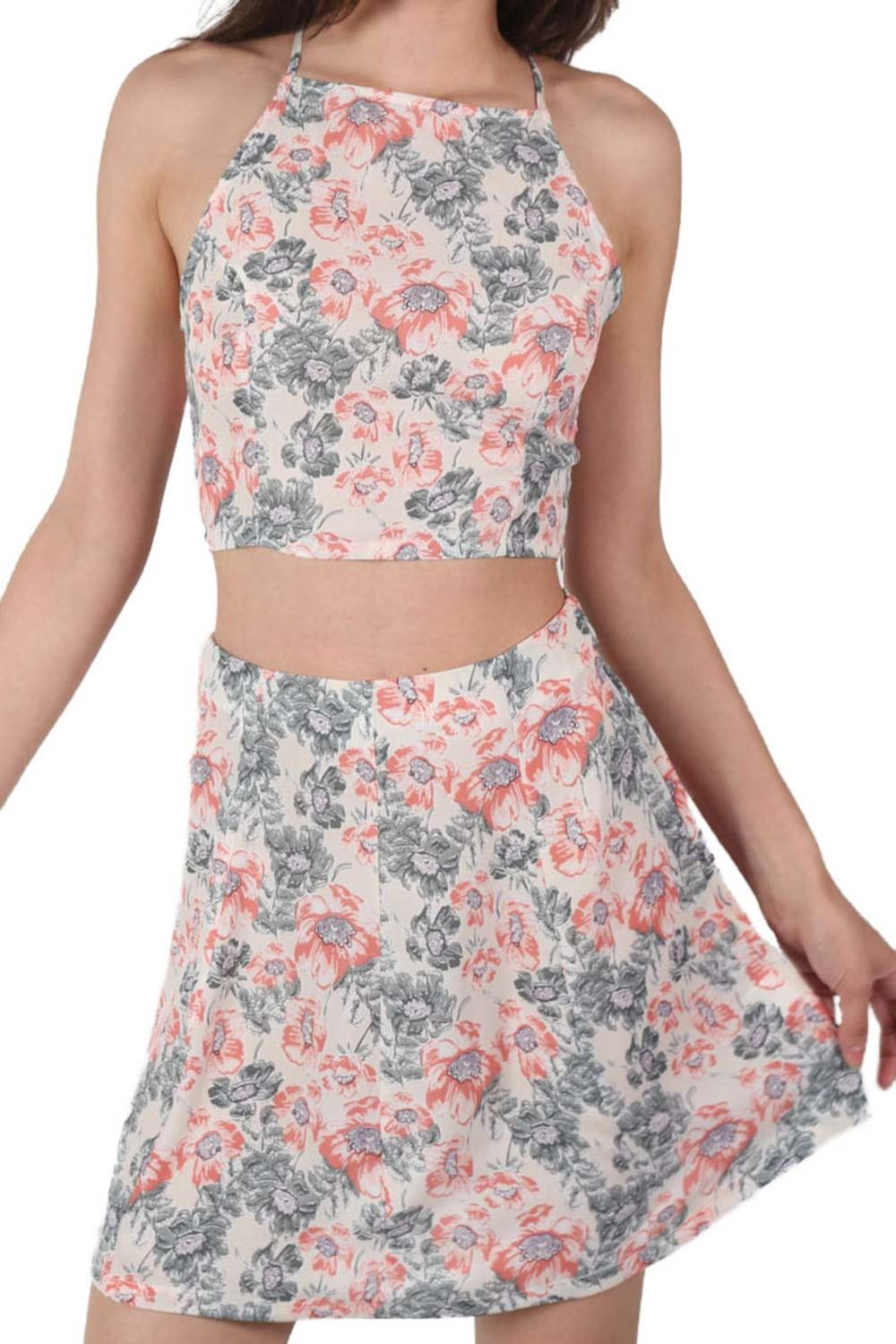 Floral Print Crop Top in Pale Pink