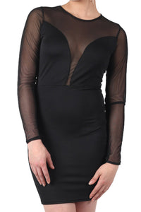 Long Sleeve Mesh Detail Bodycon Dress in Black