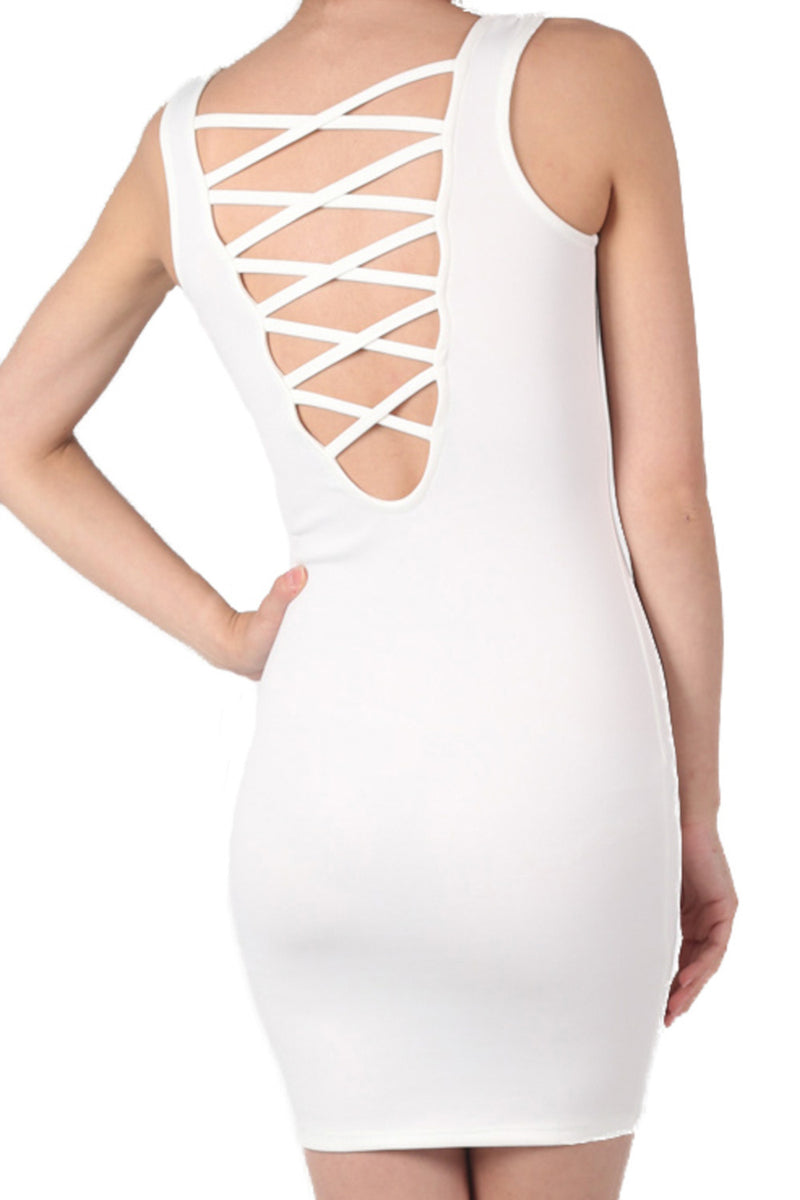 Criss Cross Back Bodycon Dress in Ivory White