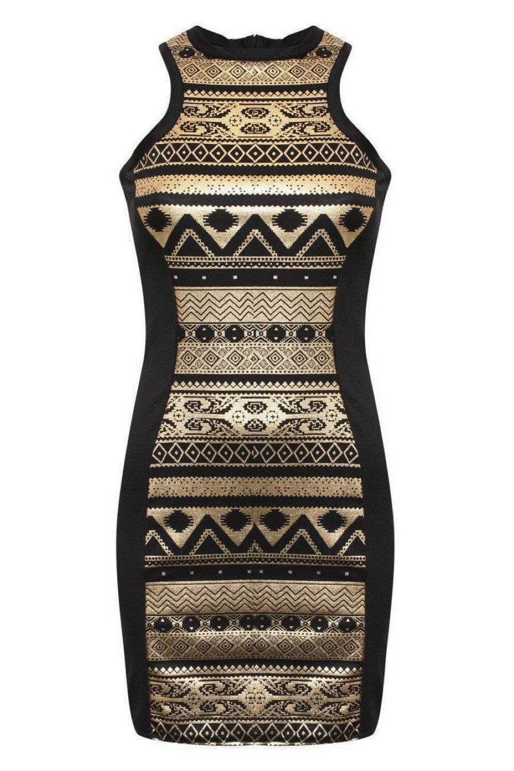 Gold Aztec Print Bodycon Party Dress in Black FRONT