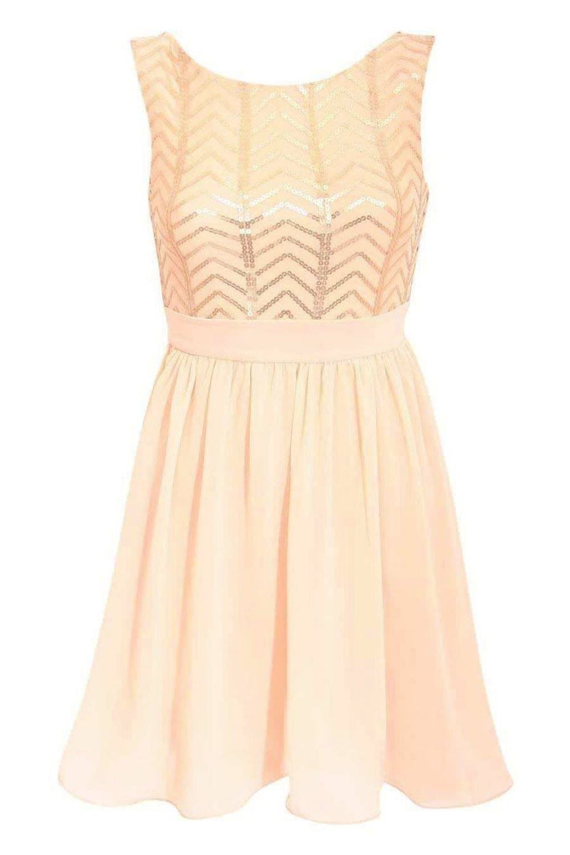 Chiffon Sequin Mix Dress in Nude FRONT