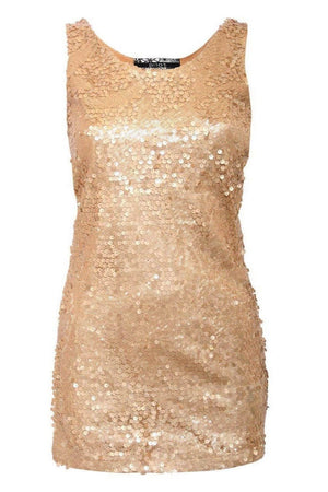 Sleeveless Sequin Front Short Tunic Dress in Gold FRONT