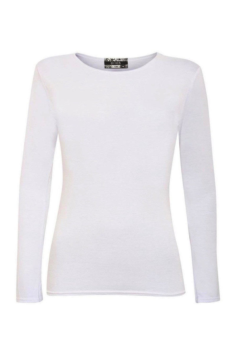 Long Sleeve Scoop Neck Top in White FRONT