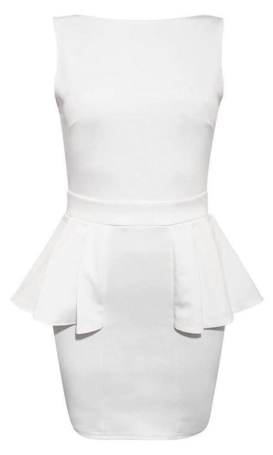 Low Back Peplum Dress in White FRONT
