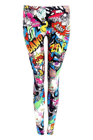 Smiley Cartoon Print Leggings in Multi Colour FRONT