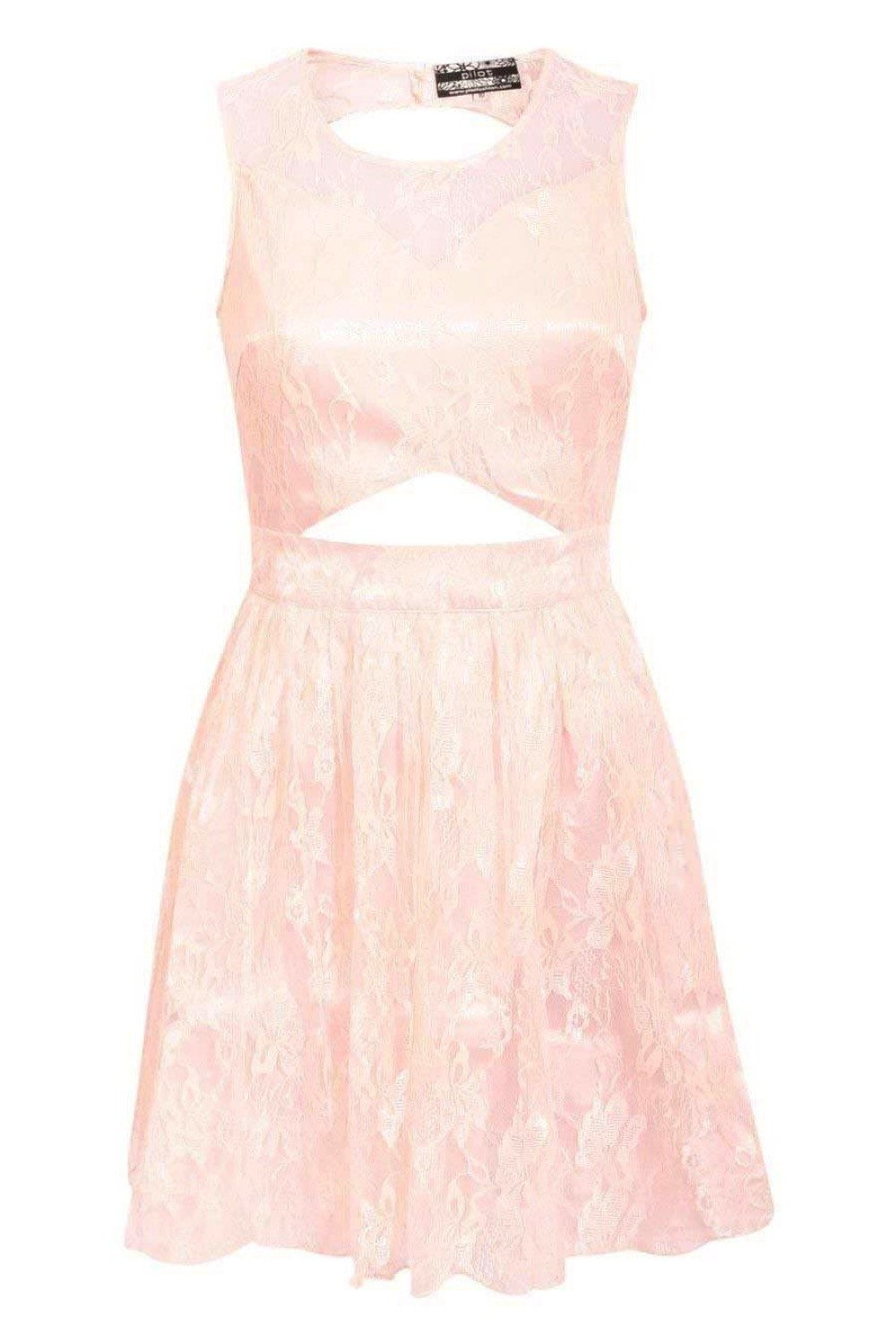 Lace Cut Out Front Skater Dress in Pink FRONT