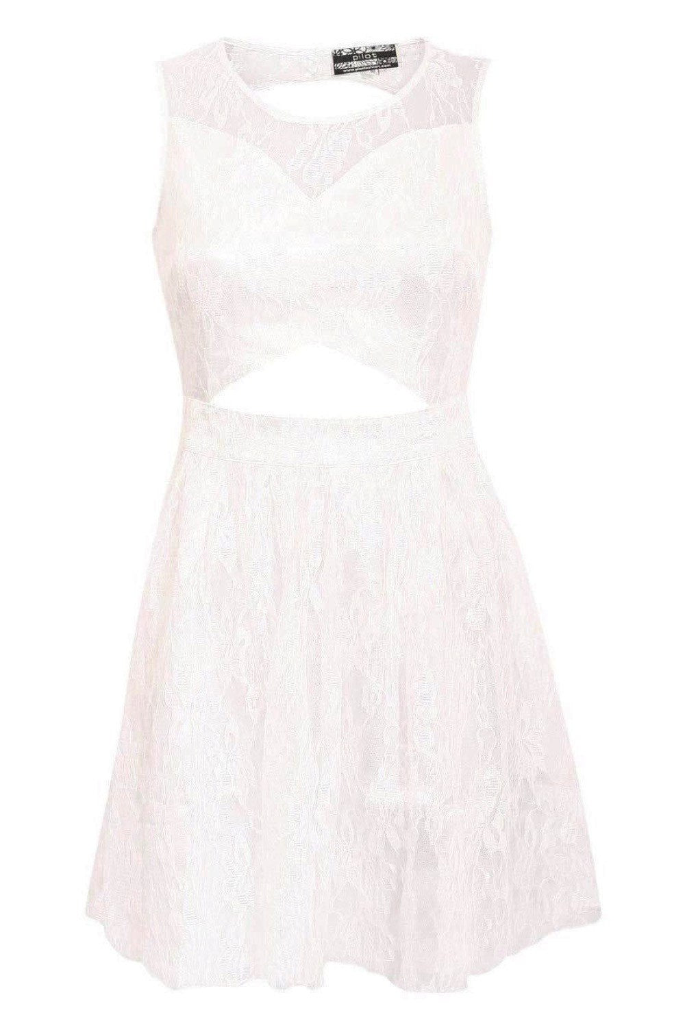 Lace Cut Out Front Skater Dress in White FRONT
