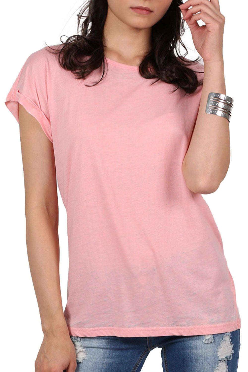 Burnout Oversized T-Shirt in Peach