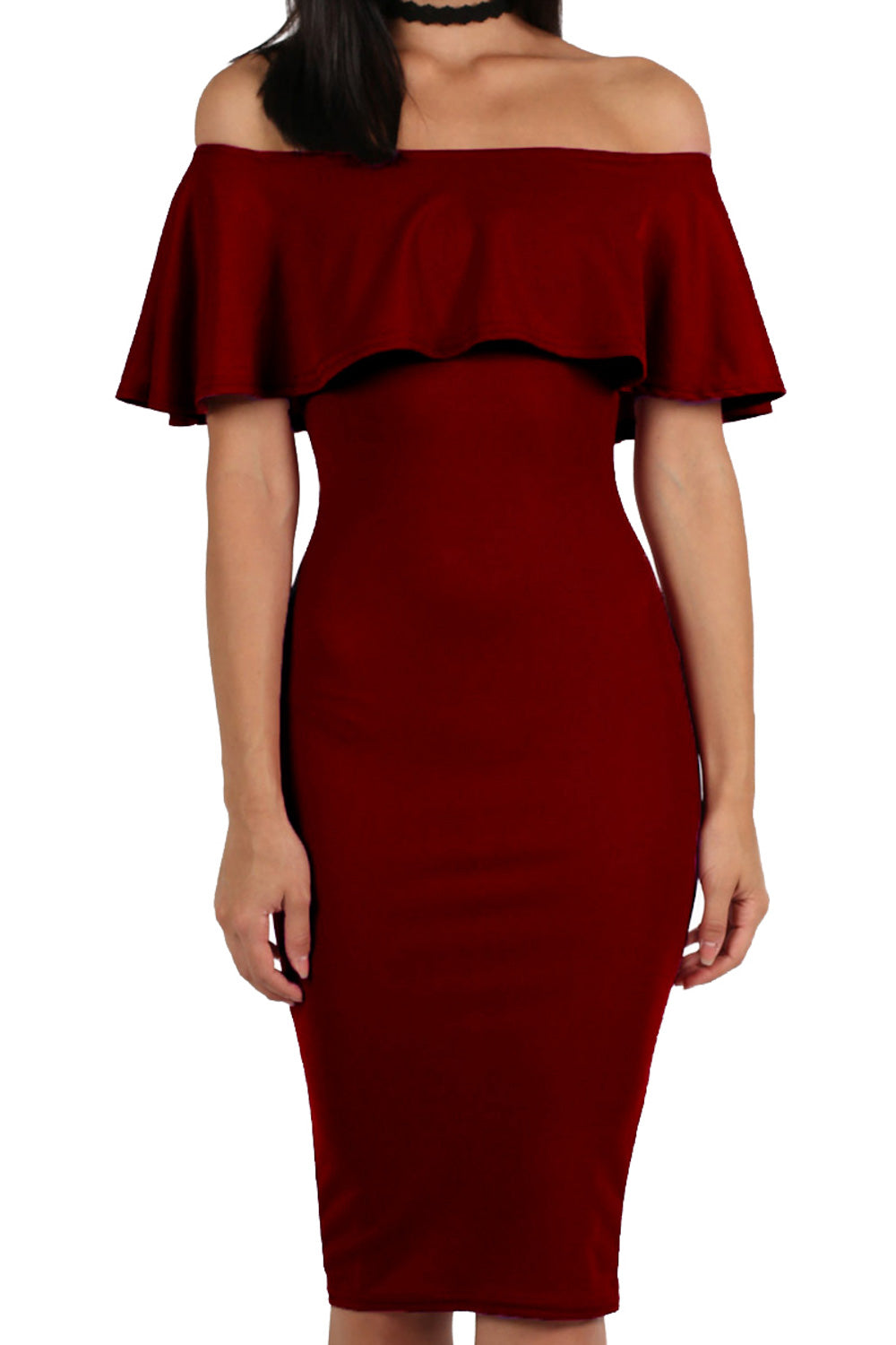 Off Shoulder Deep Frill Bodycon Midi Dress in Burgundy Red