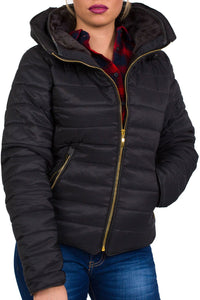 Quilted Long Sleeve Puffa Jacket in Black