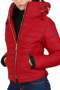 Quilted Long Sleeve Puffa Jacket in Red