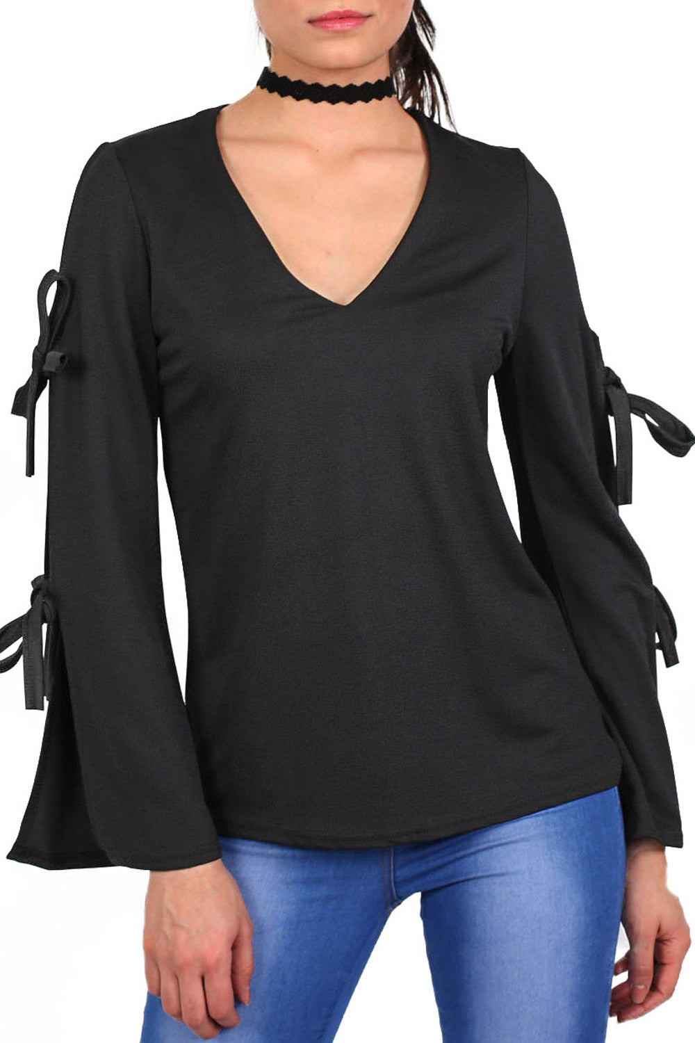 Plain V Neck Flared Tie Sleeve Detail Long Sleeve Top in Black