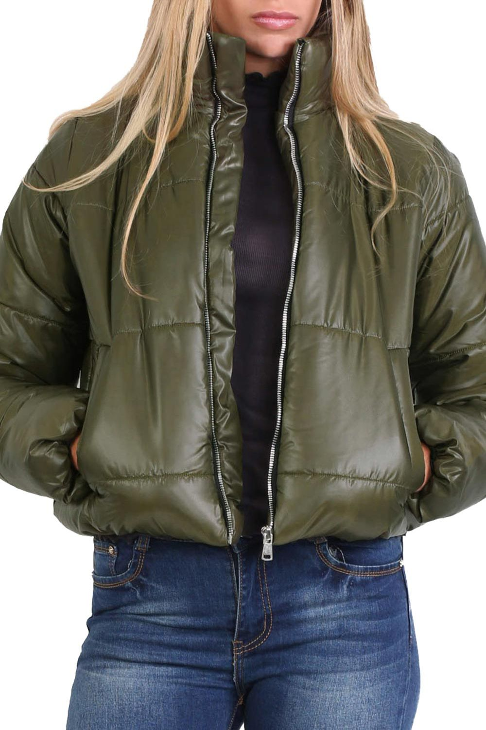Cropped Puffer Jacket in Khaki Green
