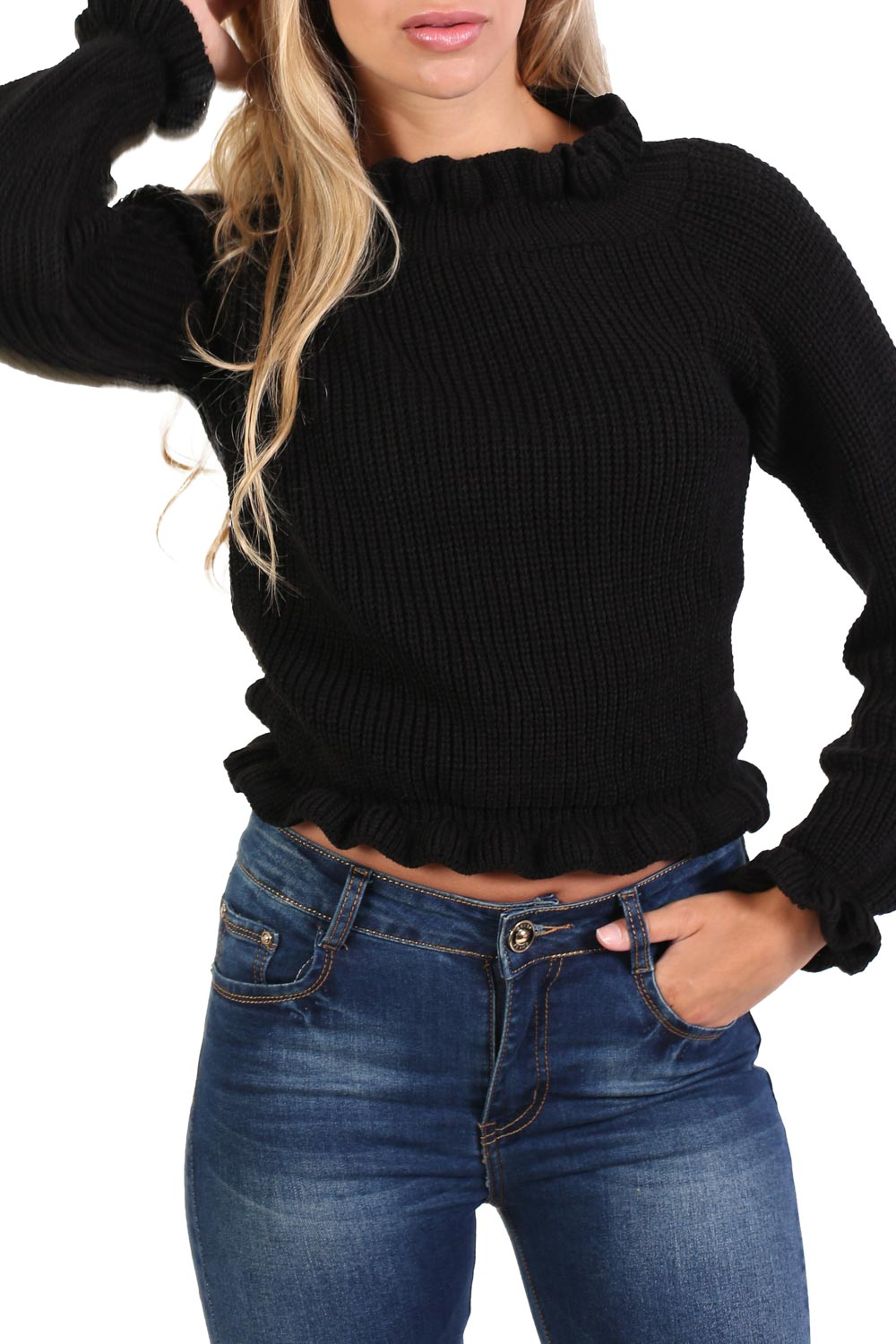Frill Neck Long Sleeve Knitted Jumper in Black