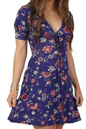 Cap Sleeve Floral Print V Neck Mini Tea Dress in Blue