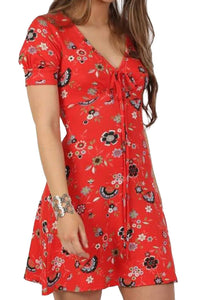 Cap Sleeve Floral Print V Neck Mini Tea Dress in Red