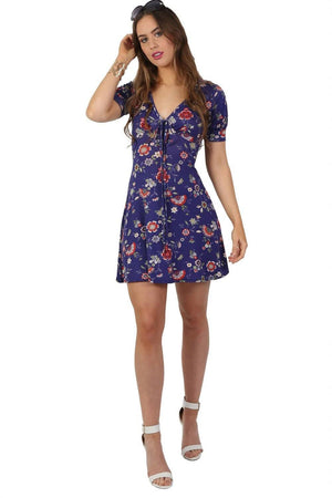 Dresses - Cap Sleeve Floral Print V Neck Mini Tea Dress In Blue