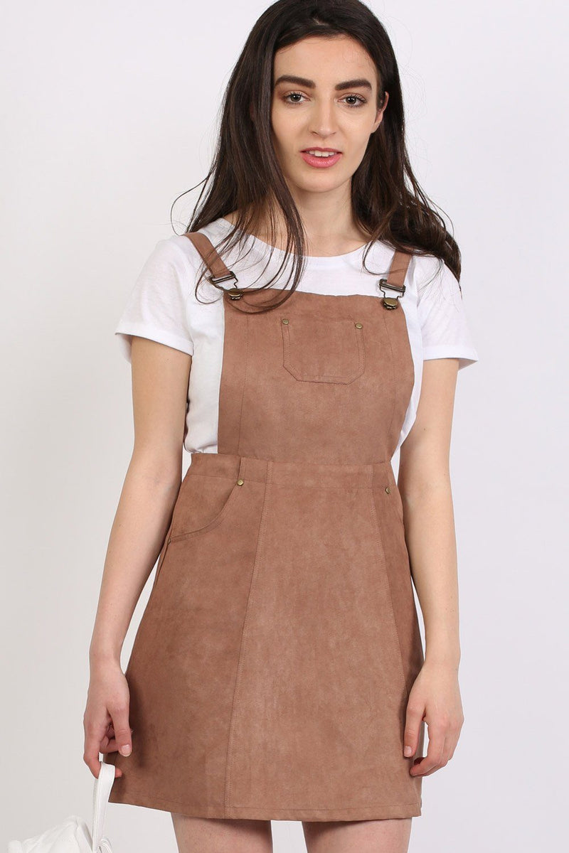 Dresses - Faux Suede Dungaree Dress In Tan Brown