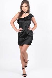 Dresses - Frill One Shoulder Mini Dress In Black