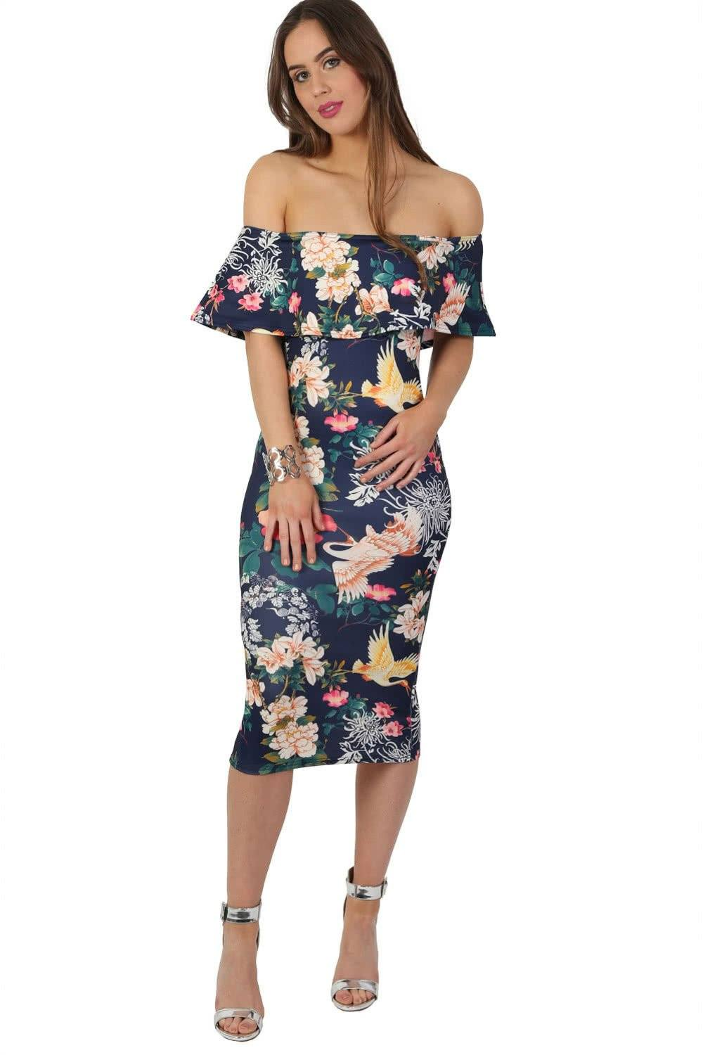 Dresses - Oriental Floral Bardot Frill Bodycon Midi Dress In Navy Blue