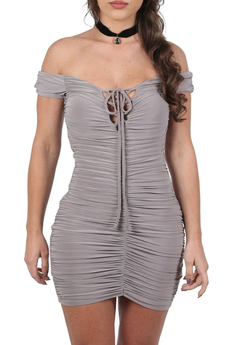 Dresses - Slinky Ruched Lace Up Front Bardot Bodycon Mini Dress In Smokey Taupe
