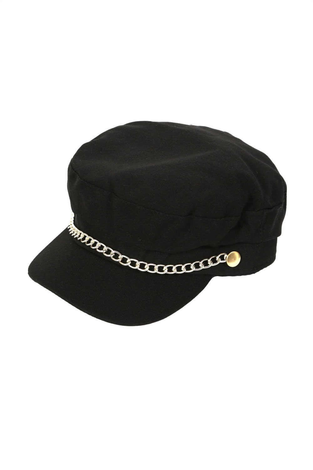 Hats - Chain Detail Baker Boy Hat In Black