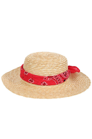 Hats - Wide Brim Bandana Scarf Detail Straw Hat In Natural