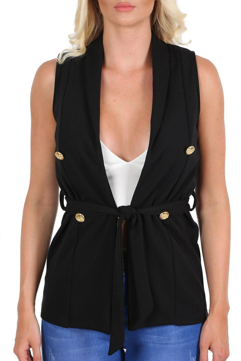 Jackets - Gold Button Detail Open Front Belted Sleeveless Blazer Jacket In Black