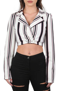 Jackets - Multi Stripe Cropped Long Sleeve Jacket In White