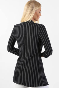 Jackets - Pinstripe 3/4 Sleeve Sleeve Open Front Blazer Jacket In Navy Blue
