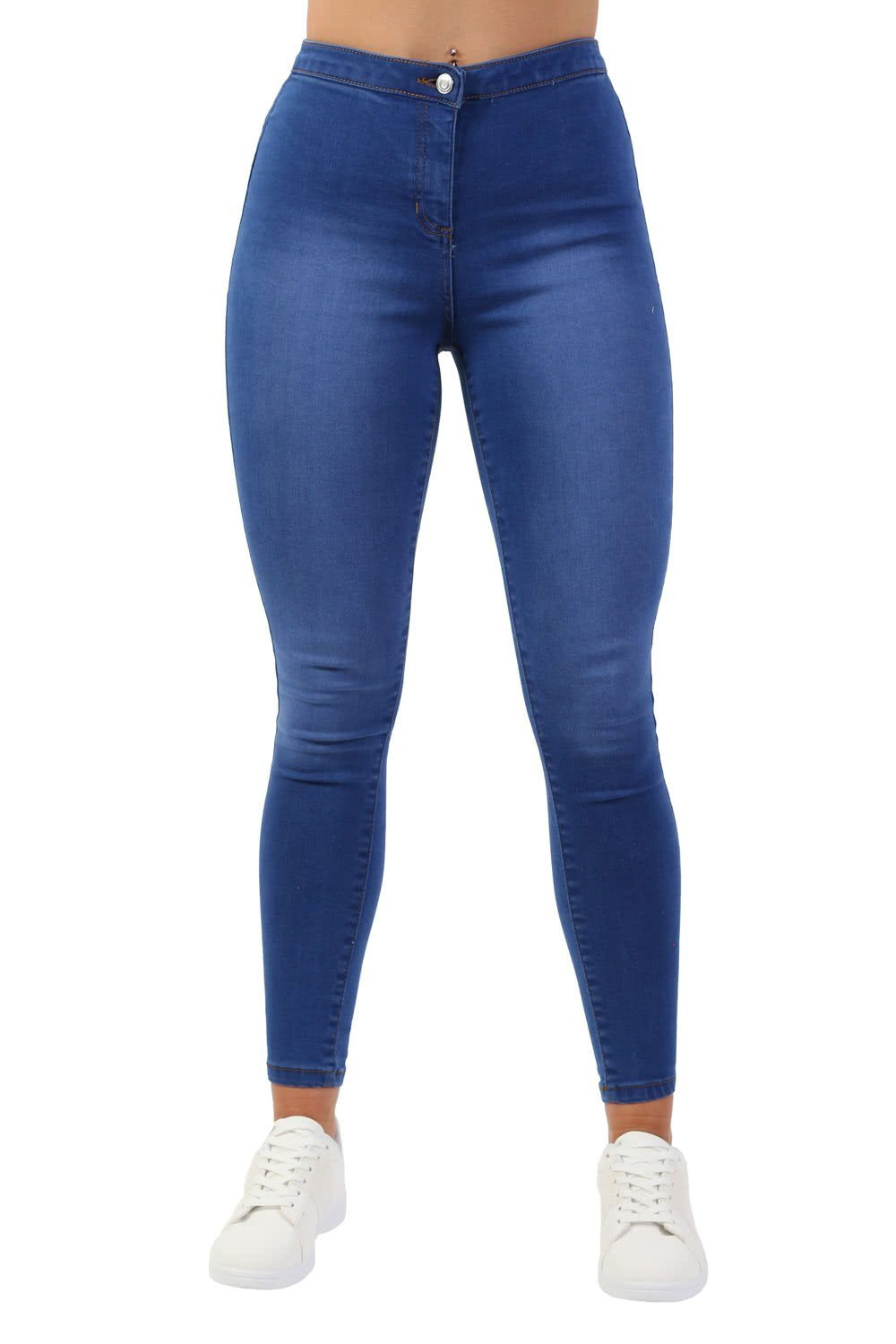 Jeans - High Waisted Stretch Denim Skinny Jeans In Denim