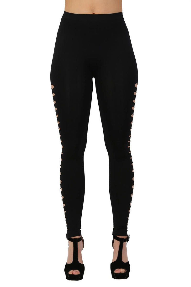 Leggings - Cut Out Side Detail Leggings In Black