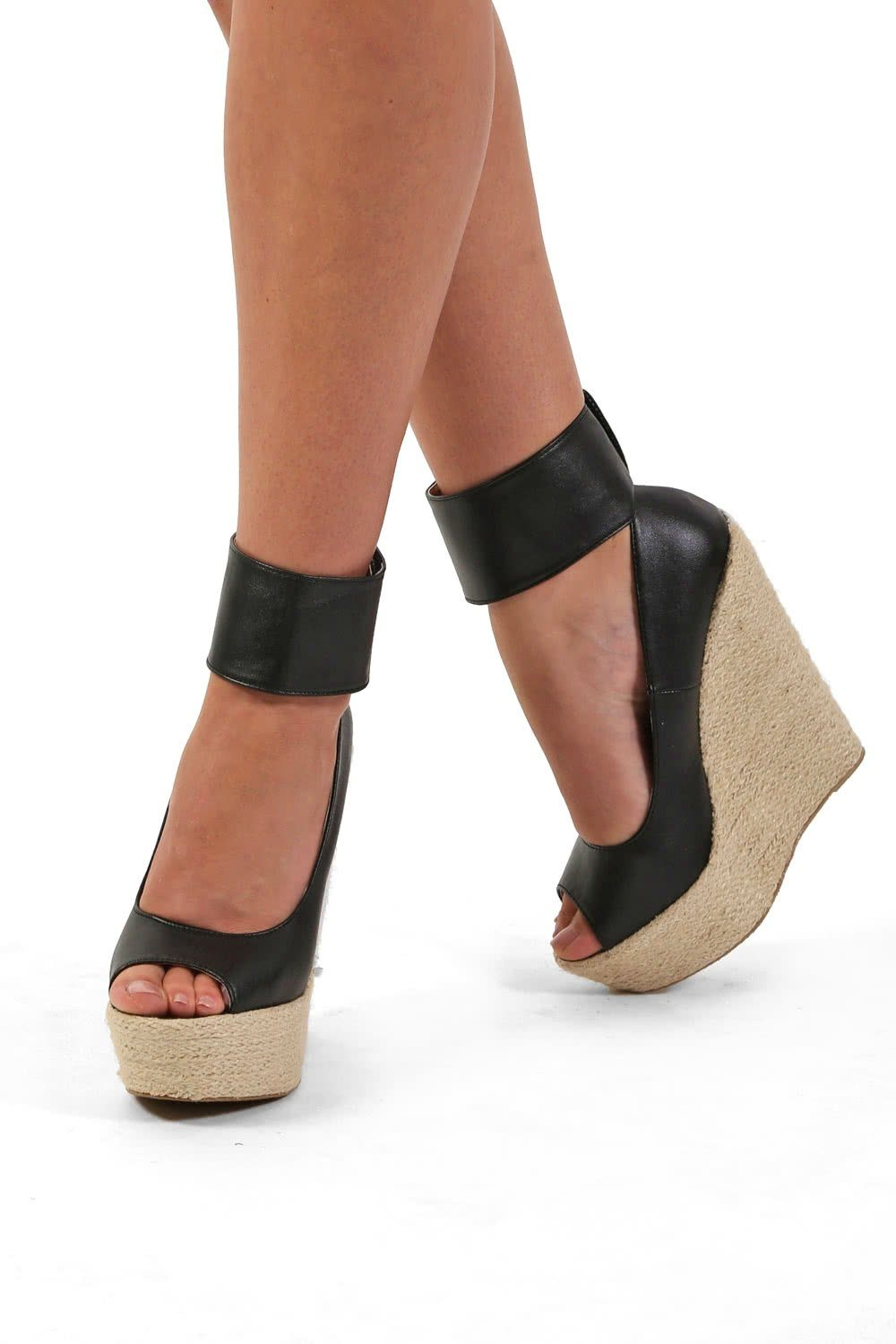 Shoes - Open Toe Wide Ankle Strap Wedge Sandals In Black