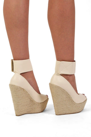 Shoes - Open Toe Wide Ankle Strap Wedge Sandals In Cream