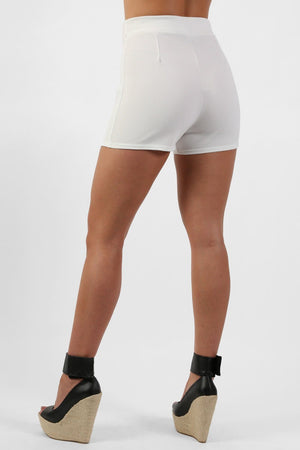 Shorts - Double Circle Buckle Detail High Waisted Fitted Shorts In Cream
