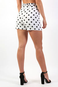 Shorts - High Waist Frill Detail Polka Dot Fitted Shorts In White