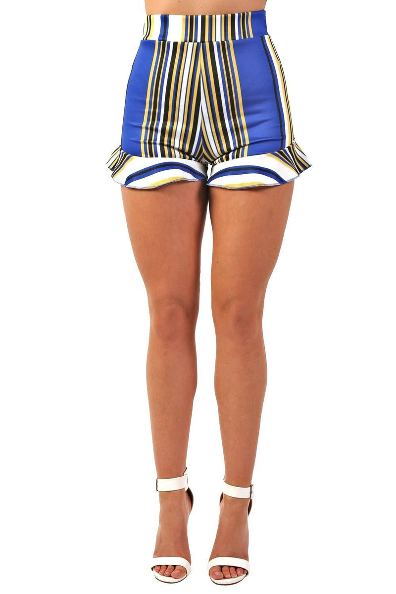 Shorts - High Waist Multi Stripe Frill Hem Fitted Shorts In Cobalt Blue